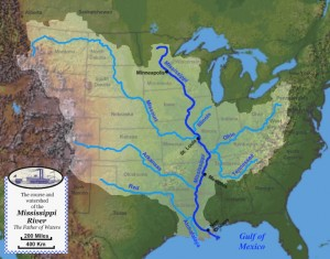 Bassin de drainage et grands affluents du Mississippi (crédit Jon Platek, licence Creative Commons BY-SA 3.0)