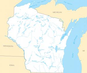 Rivières et lacs du Wisconsin (crédit Maps of Net, licence Creative Commons BY-SA 1.0)