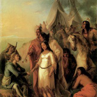 Voyageur canadien recevant son épouse indienne