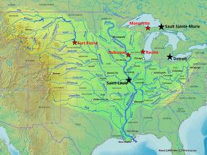 Bassin du Mississippi et villes d'intérêt pour l'article